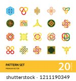 pattern icon set. hexagon... | Shutterstock .eps vector #1211190349