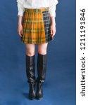 front view women leg in stripy... | Shutterstock . vector #1211191846