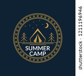 camp badge. round summer... | Shutterstock .eps vector #1211196946