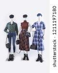 three women full mannequin in... | Shutterstock . vector #1211197180