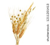 yellow ripe spikelets and... | Shutterstock .eps vector #1211201413
