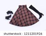 stylish stripy skirt with black ... | Shutterstock . vector #1211201926