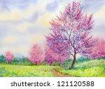Watercolor Spring Landscape....