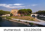 cityscape of old rome in summer ... | Shutterstock . vector #1211206336