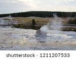 beehive geyser  upper geyser... | Shutterstock . vector #1211207533