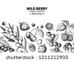 wild berry drawing. hand drawn... | Shutterstock . vector #1211212903