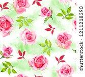 beautiful seamless watercolor... | Shutterstock . vector #1211218390