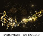 music notes abstract. golden... | Shutterstock .eps vector #1211220610