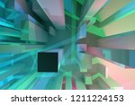3d rendering. abstract block or ... | Shutterstock . vector #1211224153
