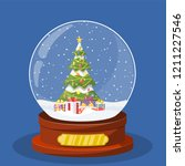 christmas snow globe with... | Shutterstock .eps vector #1211227546