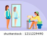 woman tailor sewing on machine  ... | Shutterstock .eps vector #1211229490
