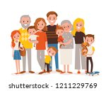 big  happy multi generational... | Shutterstock .eps vector #1211229769