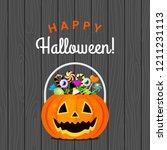 halloween pumpkin bucket with... | Shutterstock .eps vector #1211231113