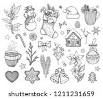 christmas hand drawn doodle... | Shutterstock .eps vector #1211231659