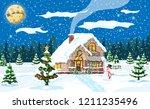 suburban house covered snow.... | Shutterstock .eps vector #1211235496
