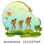 young active family hiking to... | Shutterstock .eps vector #1211237569