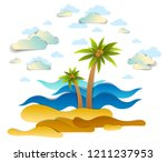 beautiful seascape with sea... | Shutterstock .eps vector #1211237953