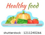 healthy food vegetable flat... | Shutterstock .eps vector #1211240266