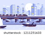 futuristic subway train... | Shutterstock .eps vector #1211251633
