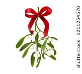Mistletoe. Vector illustration of hanging mistletoe sprigs with with berries and red bow isolated on white