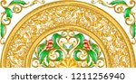 golden ornamental half segment... | Shutterstock .eps vector #1211256940