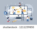 team of people building or... | Shutterstock .eps vector #1211259850