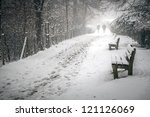 An Image Of A Snowy Path In Th...