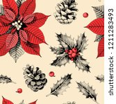seamless pattern with holly... | Shutterstock .eps vector #1211283493