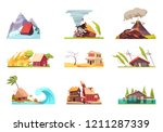 natural disasters set of nine... | Shutterstock .eps vector #1211287339