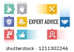expert advice flat icon set | Shutterstock .eps vector #1211302246