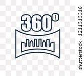 360 degrees vector outline icon ... | Shutterstock .eps vector #1211313316