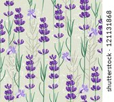 seamless ornament with lavender ... | Shutterstock .eps vector #121131868