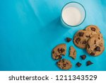 flat lay picture of chocolate... | Shutterstock . vector #1211343529