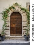old vintage wooden door... | Shutterstock . vector #1211365759