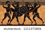 ancient greece warrior.black... | Shutterstock .eps vector #1211372806