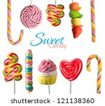 colorful  lollipops isolated on ... | Shutterstock . vector #121138360