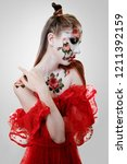 creatyve bodyart  red rose on... | Shutterstock . vector #1211392159