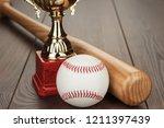 golden trophy cup and baseball... | Shutterstock . vector #1211397439