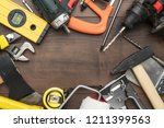 different construction tools on ... | Shutterstock . vector #1211399563