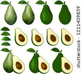 avocados isolated on white with ... | Shutterstock . vector #1211409859