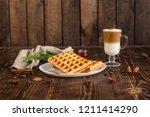 fresh belgian waffles  tasty...   Shutterstock . vector #1211414290