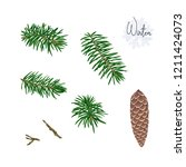 set with fir tree branches and... | Shutterstock .eps vector #1211424073