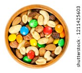 Trail Mix In Wooden Bowl. Snac...