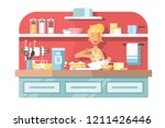 housewife cooking food on... | Shutterstock .eps vector #1211426446