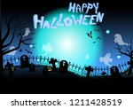 graveyard halloween vector | Shutterstock .eps vector #1211428519