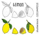 whole lemon  sliced pieces ... | Shutterstock . vector #1211449213
