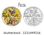 colored italian pizza hand... | Shutterstock . vector #1211449216