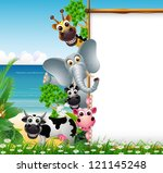 animal cartoon with blank sign... | Shutterstock .eps vector #121145248