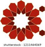 ottoman tile   tezhip motifs... | Shutterstock .eps vector #1211464069