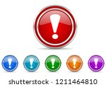exclamation sign silver... | Shutterstock .eps vector #1211464810